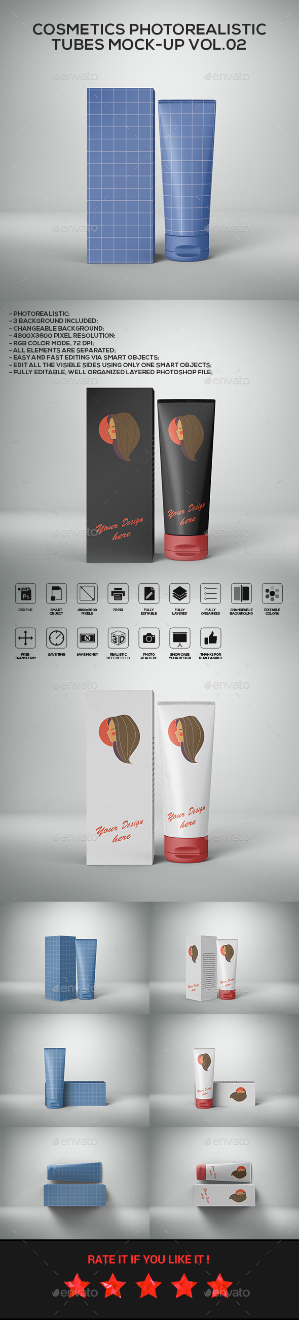 Cosmetics Photorealistic Tubes Mock-Up Vol.02 - Beauty Packaging