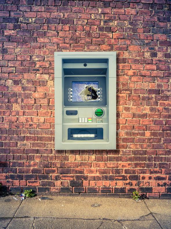 Urban Smashed ATM - Stock Photo - Images