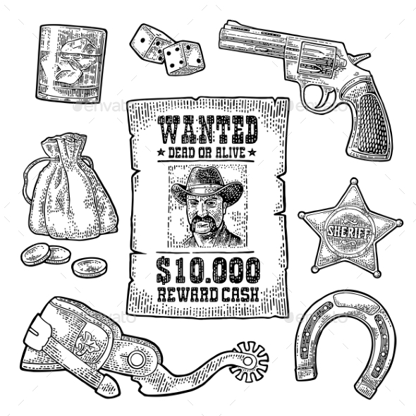 GraphicRiver Set with Wild West and Casino Symbols 20687438