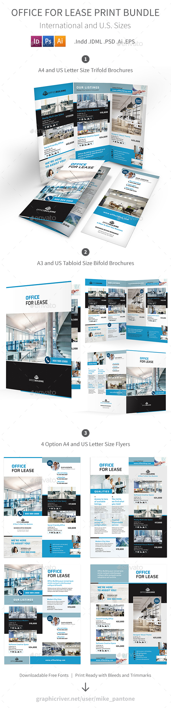 Office For Lease Print Bundle - Informational Brochures