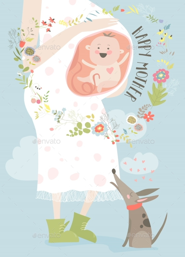 Pregnancy Concept Card in Cartoon Style - People Characters