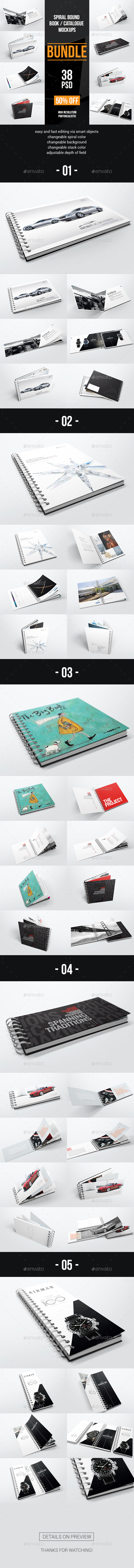 GraphicRiver Spiral Bound Book Catalogue Bundle Mockups 20687683