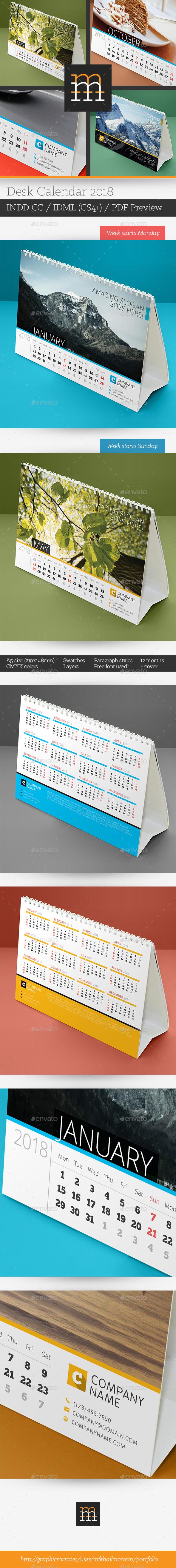 GraphicRiver Desk Calendar 2018 20687724