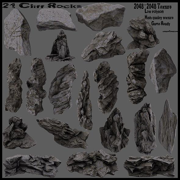 cliff rocks set - 3DOcean Item for Sale