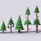 10 Low Poly Pine Trees Pack