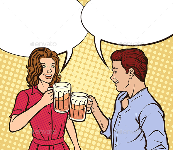 Couple Drinking Beer - People Characters