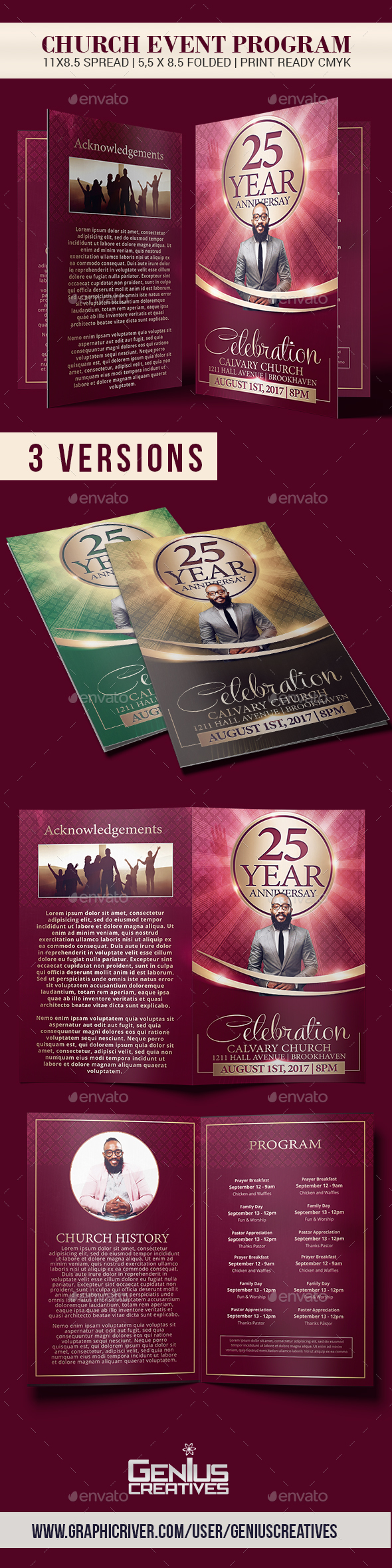 church brochure templates - church anniversary brochure template by geniuscreatives