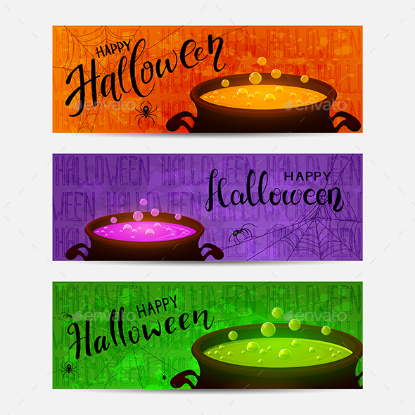 Set of Halloween Banners with Cauldrons and Potions - Halloween Seasons/Holidays