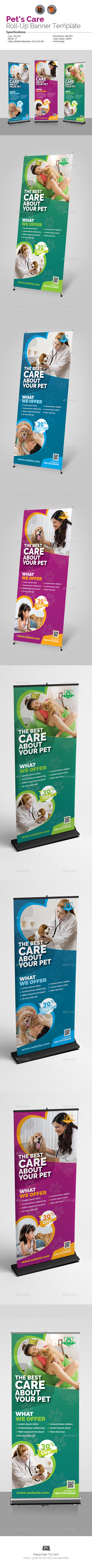 Pets Care Roll-Up Banner - Signage Print Templates