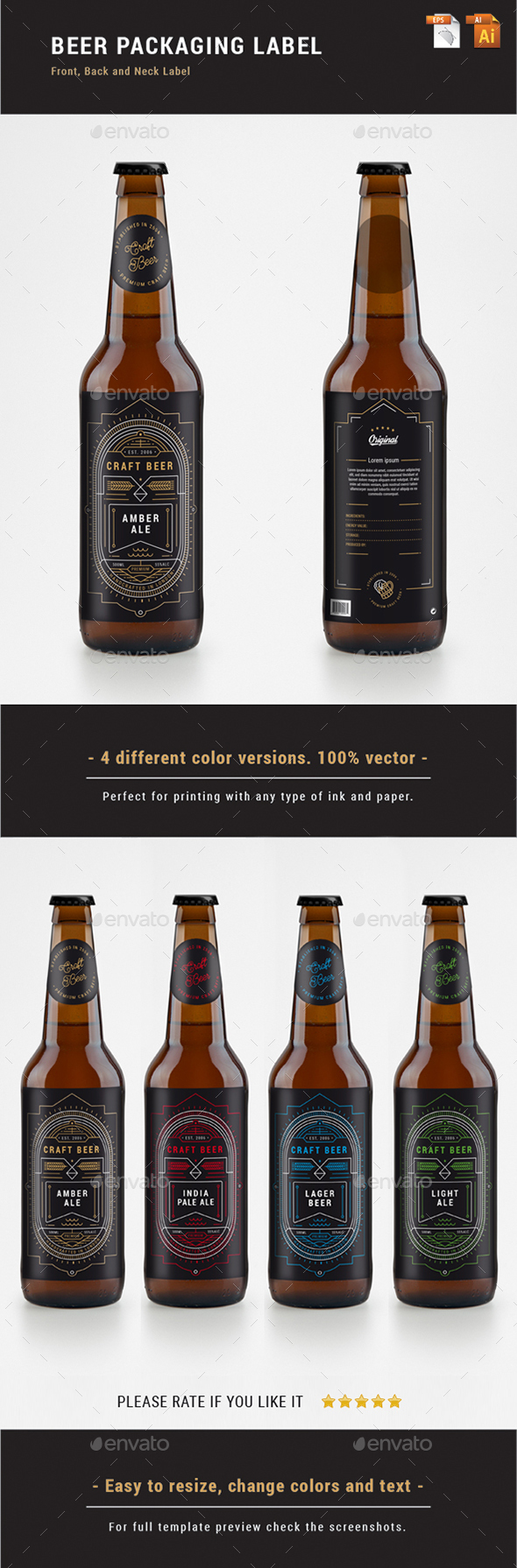 BEER PACKAGING LABEL - Linear Art - Packaging Print Templates