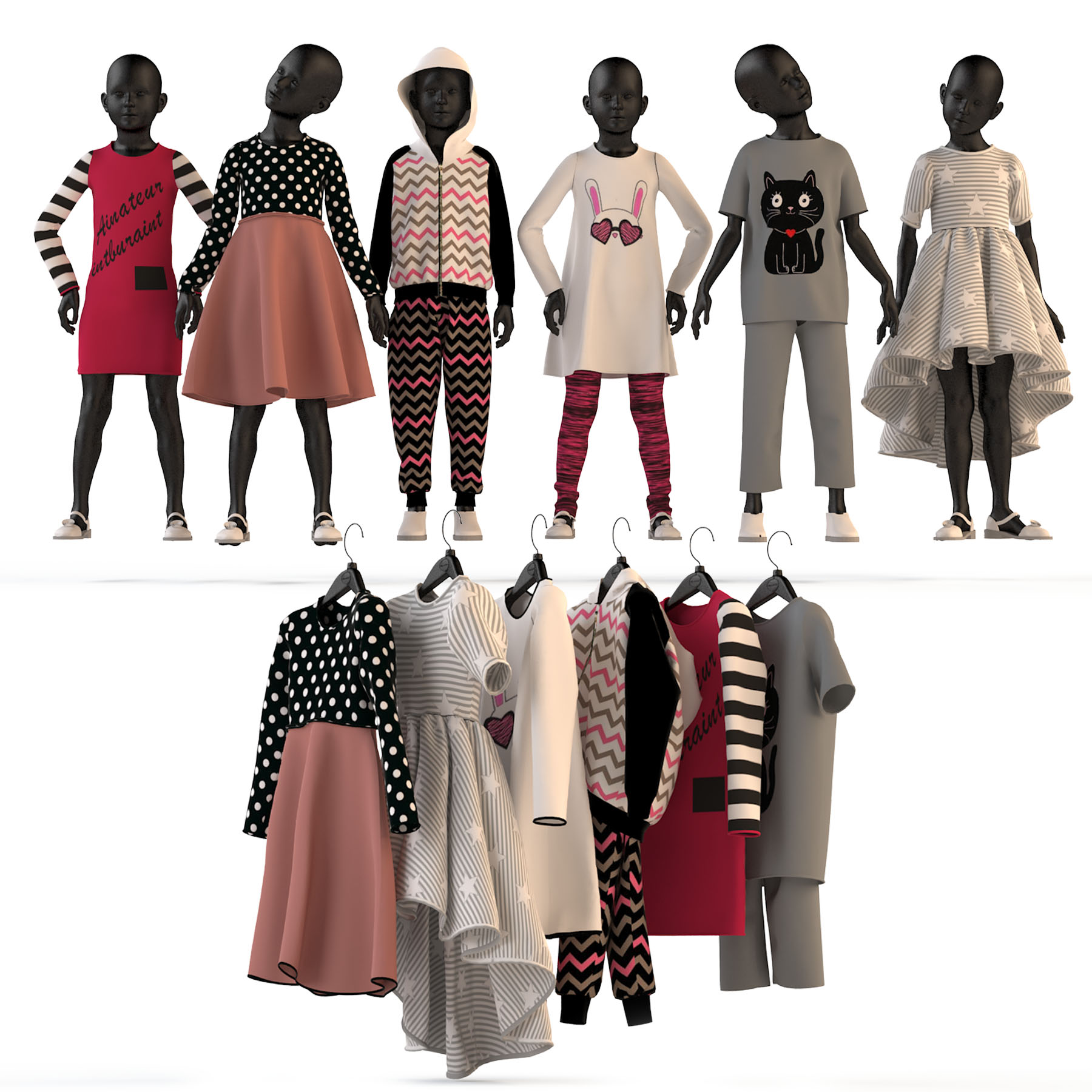 Children's clothing on mannequins and hangers set