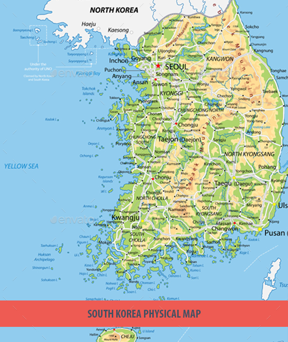 South Korea Physical Map By Cartarium GraphicRiver - Map of south korea