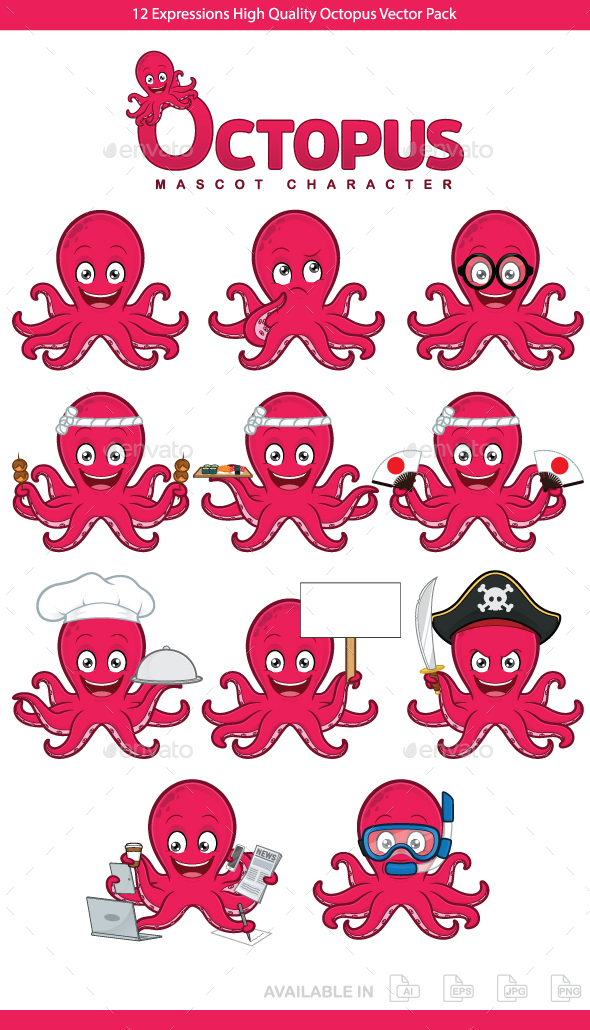 GraphicRiver Octopus Mascot Character 20688306