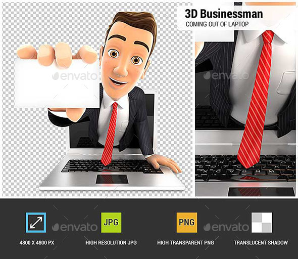 GraphicRiver 3D Businessman Coming Out of Laptop with a Business Card 20688307