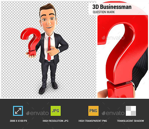 3D Businessman Holds a Question Mark - Characters 3D Renders