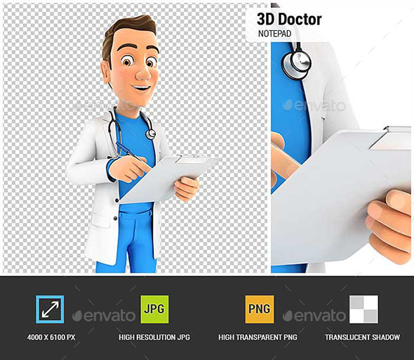 3D Doctor Writing on Notepad - Characters 3D Renders