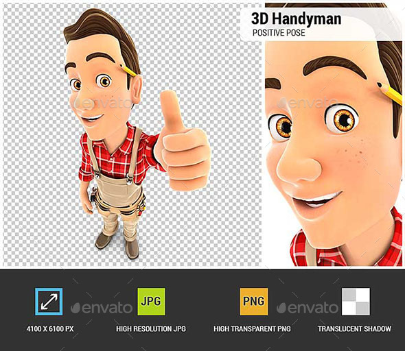 GraphicRiver 3D Handyman Positive Pose with Thumb Up 20688316