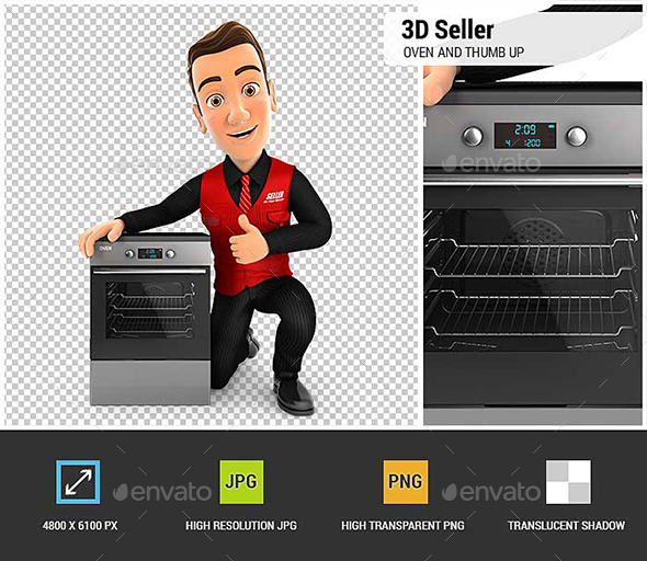 GraphicRiver 3D Seller with Oven and Thumb Up 20688320