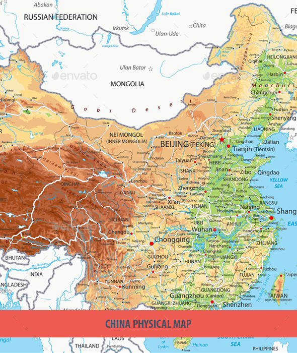 China Physical Map - Travel Conceptual