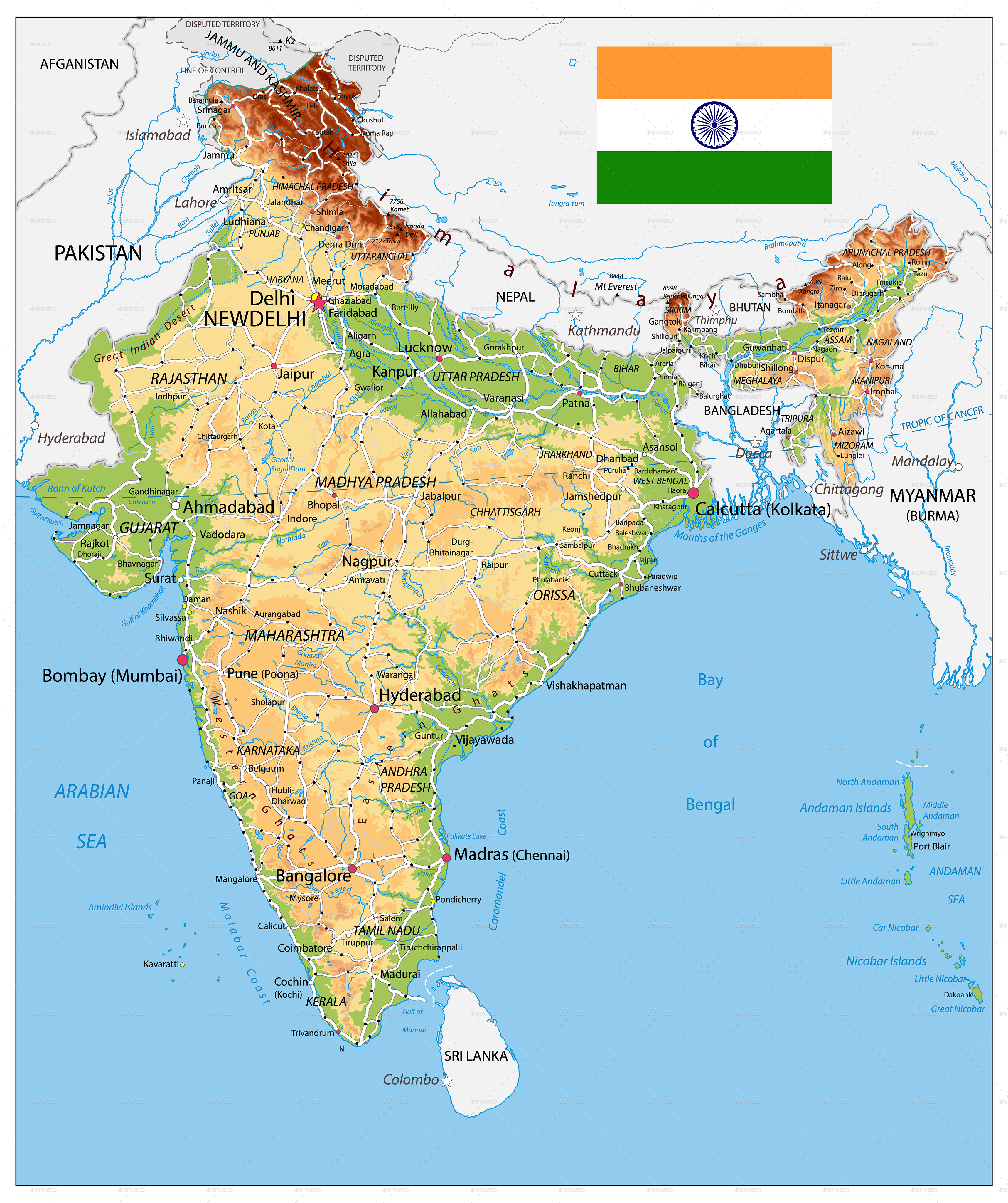 India Physical Map by Cartarium GraphicRiver