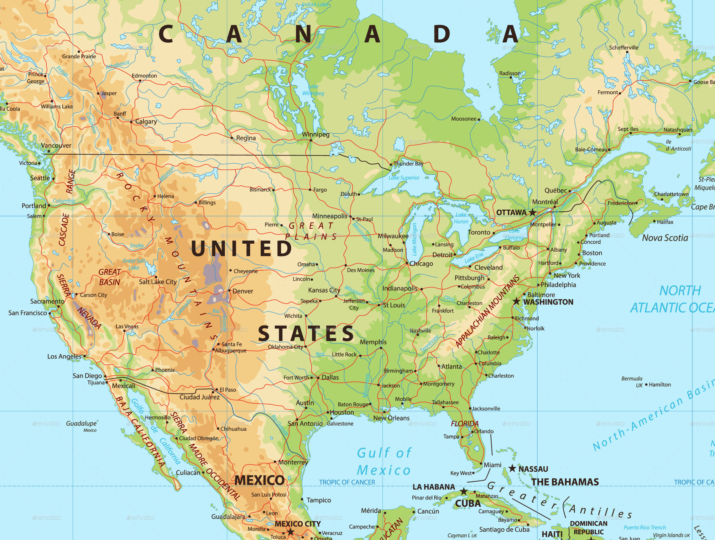 Picture Of Map Of America.North America Physical Map