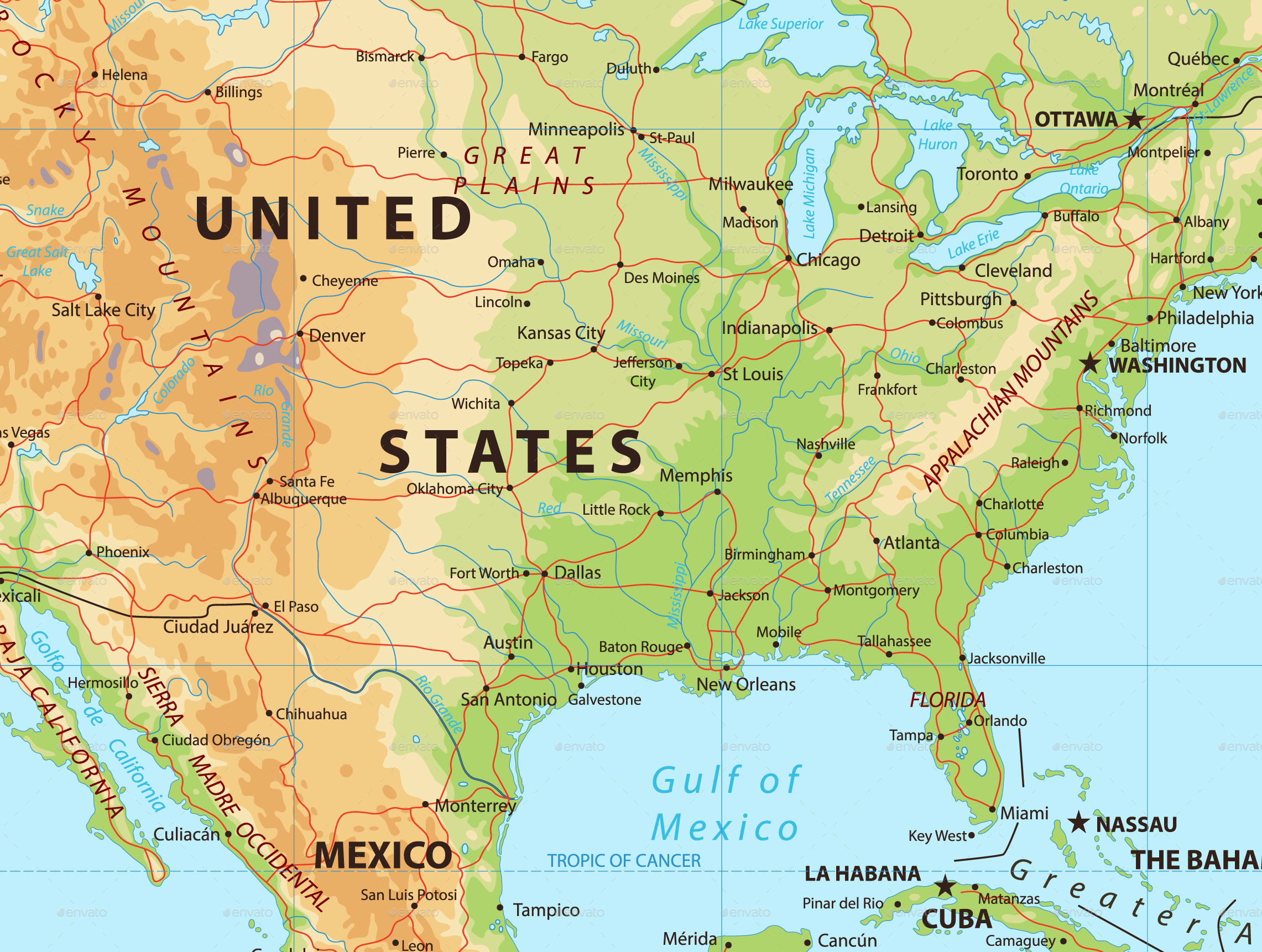 North America Physical Map By Cartarium GraphicRiver - North america continent physical map
