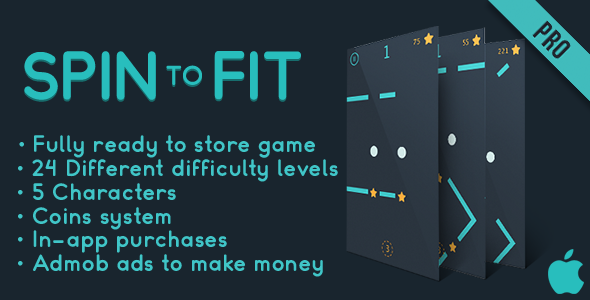 Spin to fit (Pro) - Fun Arcade Game IOS Template + easy to reskine + AdMob - CodeCanyon Item for Sale