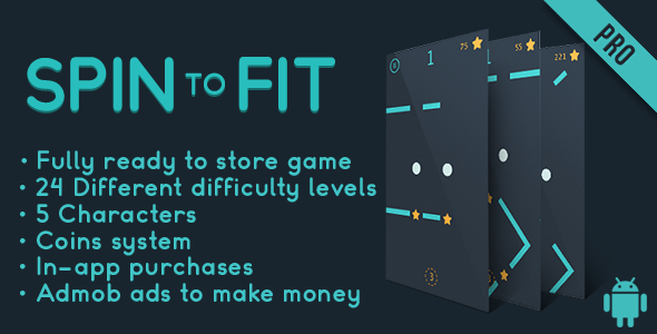 Spin to fit (Pro) - Fun Arcade Game Android Template + easy to reskine + AdMob - CodeCanyon Item for Sale