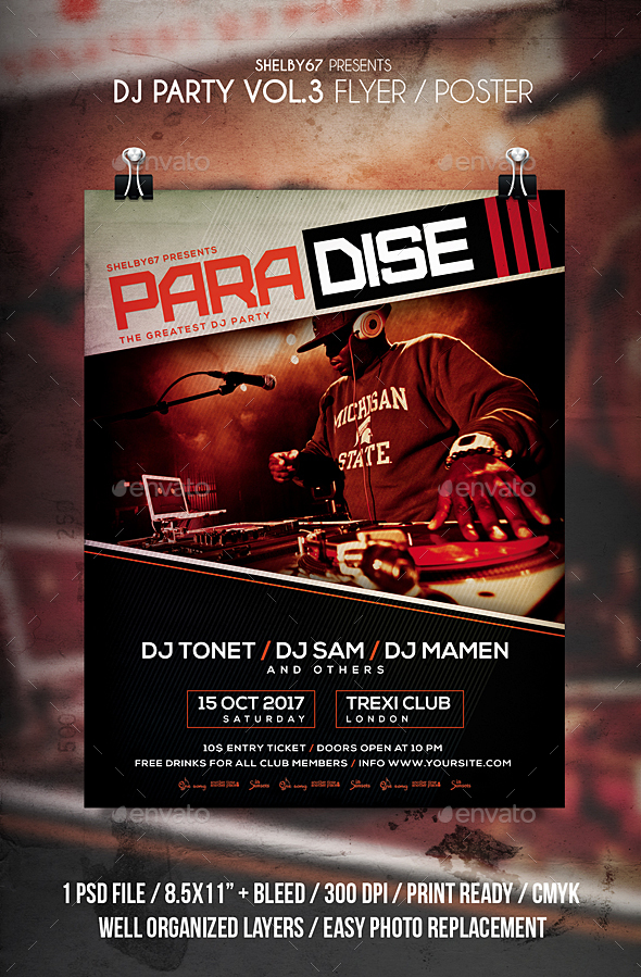DJ Party Flyer / Poster Vol 3 - Clubs & Parties Events