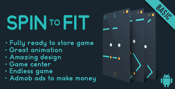Spin to fit (Basic) - Fun Arcade Game Android Template + easy to reskine + AdMob - CodeCanyon Item for Sale