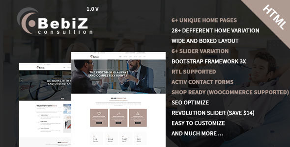 ThemeForest bebiz Business and Corporate HTML5 Template 20546222