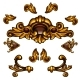 Golden Decorative Elements, Floral Curls, Arrows