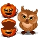 Angry Owl and Halloween Scary Pumpkin Face. Vector