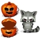 Evil Raccoon and Halloween Scary Pumpkin Face