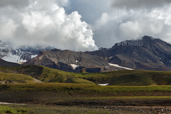 Beautiful View of Active Mutnovsky Volcano. Kamchatka, Russia - Stock Photo - Images