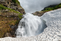 Summer Landscape - Mountain Waterfall Falling into the Snowfield - PhotoDune Item for Sale