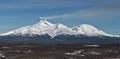 Panorama view of Volcanoes of Kamchatka: Avacha Volcano and Kozelsky Volcano