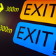 Exit information signal post at airport terminal. Travel background. Horizontal - PhotoDune Item for Sale