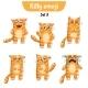 Vector Set of Cute Cat Characters. Set 3