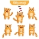 Vector Set of Cute Cat Characters. Set 1