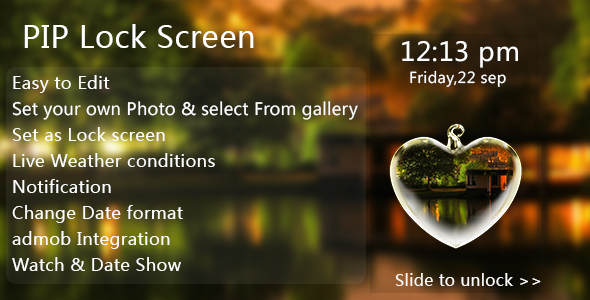 PIP Lock Screen Android App + Admob Ad Integration - CodeCanyon Item for Sale