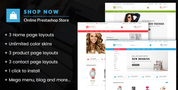 ThemeForest Shop Now All in one package Prestashop theme 20566137
