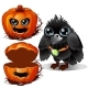 Raven and Box of Pumpkins. Halloween Characters