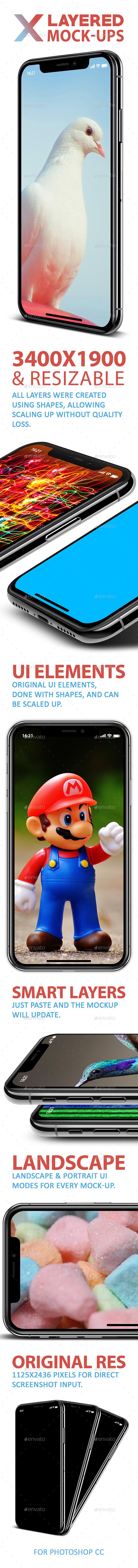 IPhone X 5 Layered PSD Mock-Ups