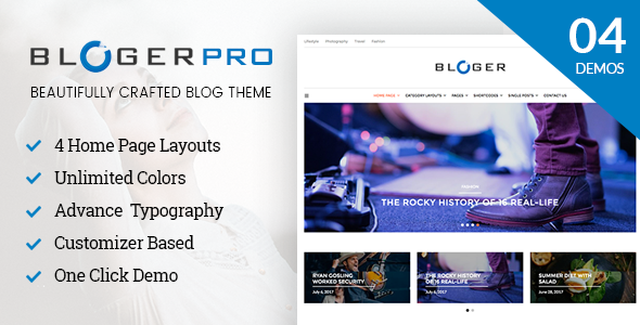 Bloger Pro - Blog & Magazine WordPress Theme