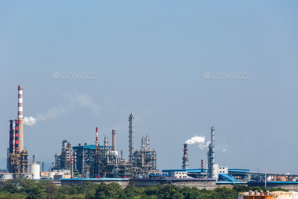 petrochemical oil refinery - Stock Photo - Images