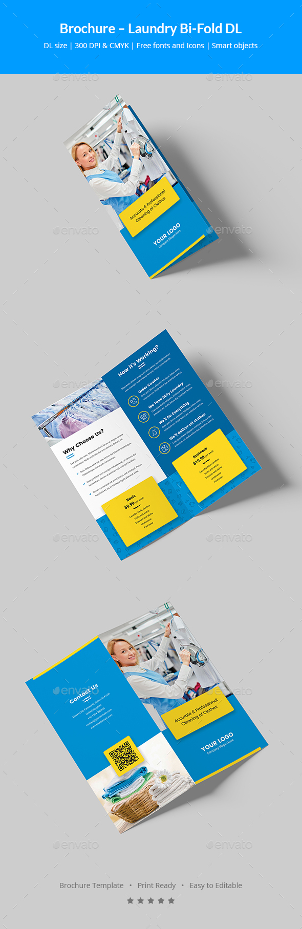 GraphicRiver Brochure Laundry Bi-Fold DL 20690015