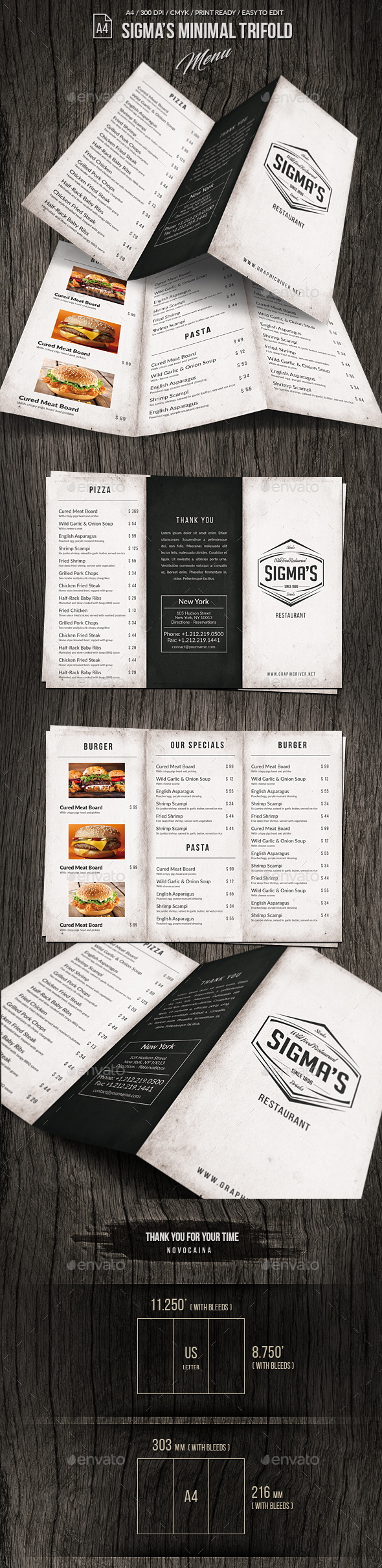 Sigma Minimal Trifold Menu A4 and US Letter - Food Menus Print Templates