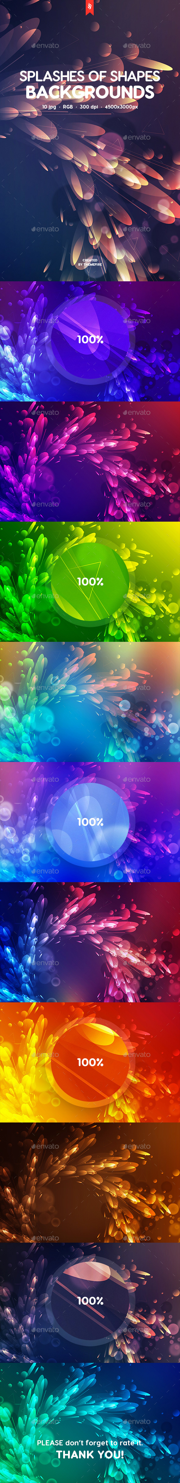 Abstract Splashes of Shapes Backgrounds - Abstract Backgrounds