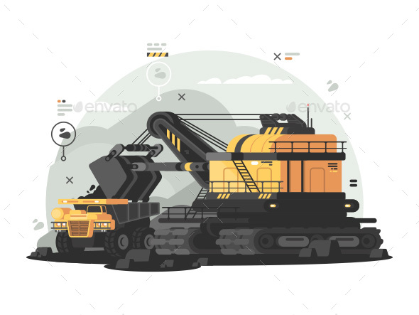 Heavy Machinery for Coal Mining - Objects Vectors